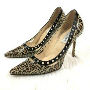 Jimmy Choo  Patent Leopard Print Heel Pump